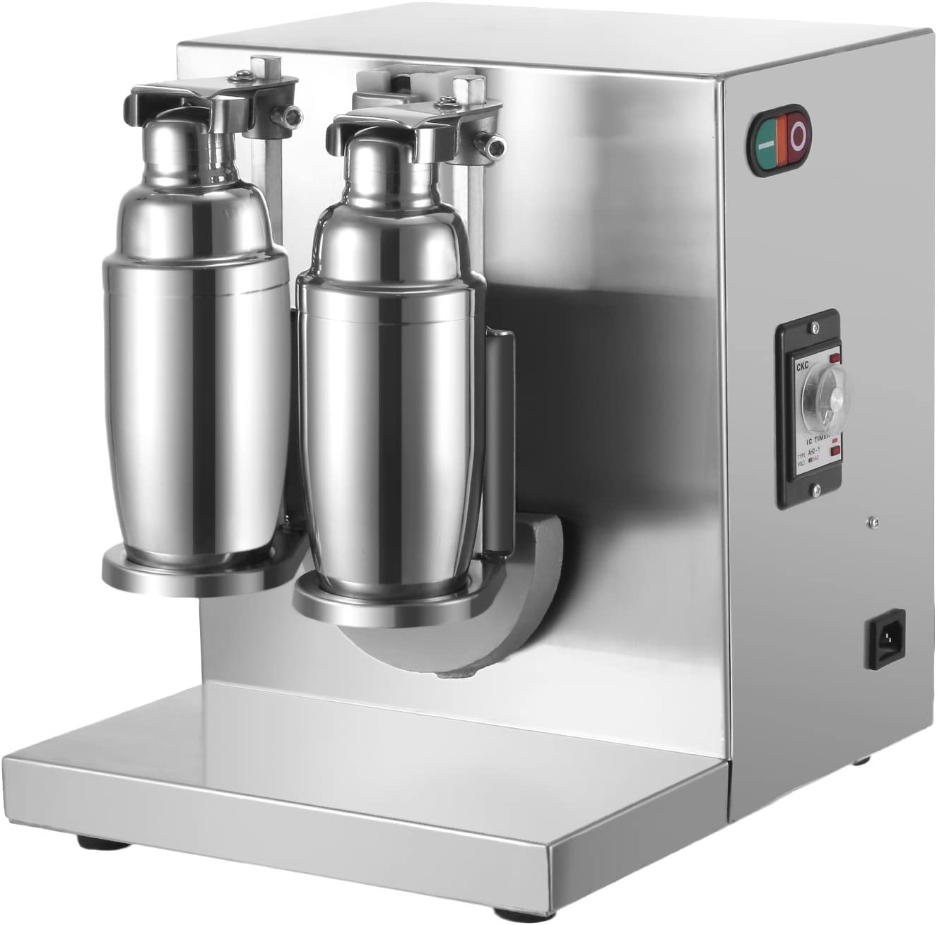 Happybuy 120W 110V Electric Milk Tea Shaker Machine 400r min Double Frame Auto Stainless Steel for Restaurant, 35x12x14 Inch, Sliver