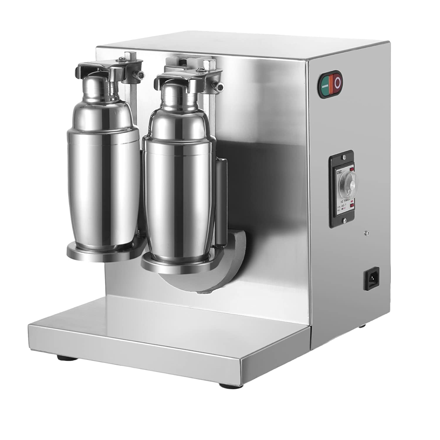 Happybuy 120W 110V Electric Milk Tea Shaker Machine 400r/min Double Frame Auto Stainless Steel for Restaurant, 35x12x14 Inch, Sliver