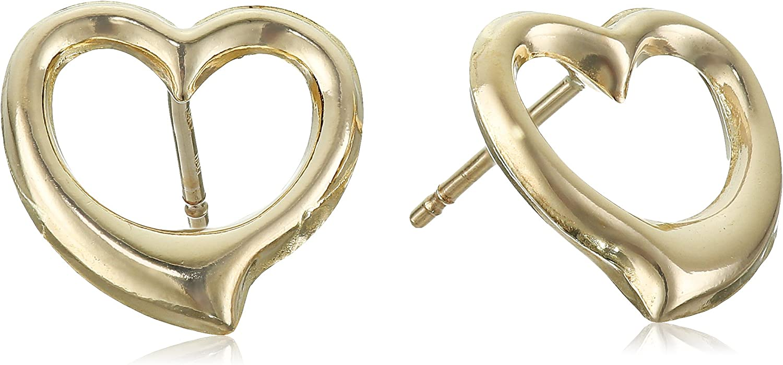 Children/'s Heart Stud Earrings 14k Yellow Gold Twisted Heart Outline Stud Earrings 14k Gold 38 Heart Stud Earring