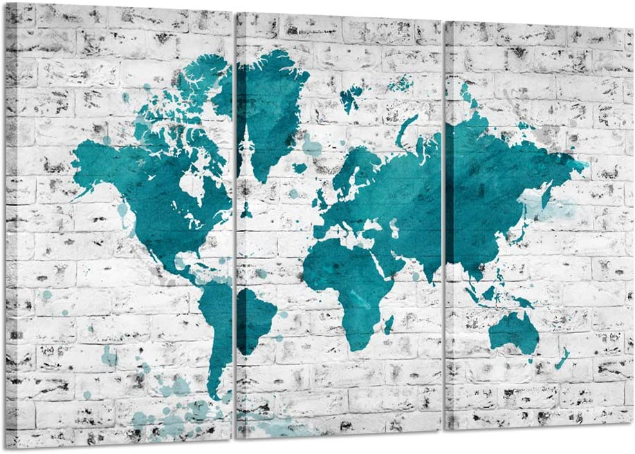 Kreative Arts Large Size 3 Pieces Vintage World Map Poster Printed On Canvas Modern Teal Blue Map of the World Framed and Stretched Canvas Prints for Living Room Office Hotel Walls Decor Ready to Hang