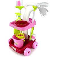 Toyshine Little Helper Cleaning Trolley Cart '35' with Many Cleaning Accessories