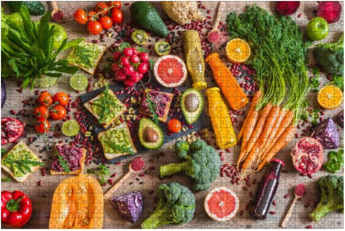 Wooden Puzzle 1000 Pieces Healthy Vegan Food Sandwiches and Fresh Vegetables on Wooden Jigsaw Puzzles for Children or Adults Educational Toys Decompression Game
