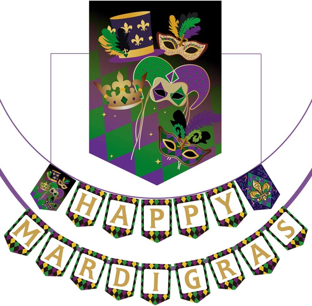 Happy Mardi Gras Banner Party Decorations Supplies, Carnival/Mardi Gras Party Decoration Paper Letter Banner
