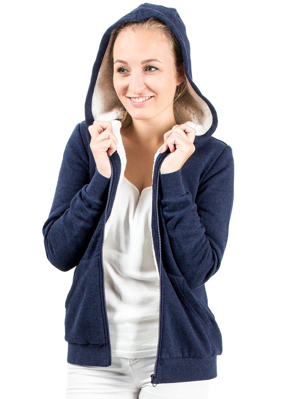 706a6b23b199 Felpa donna con cappuccio foderata in tessuto sherpa, Felpa con zip, Felpa  con fodera in sherpa blu