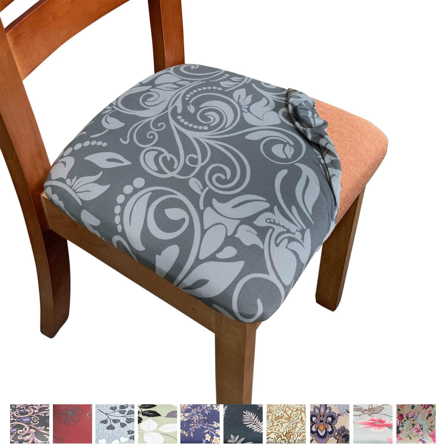 Melaluxe Stretch Printed Dining Room Chair Seat Covers, Removable Washable  Anti-Dust Upholstered Kitchen Chair Seat Cushion Slipcovers (Pack of 9)