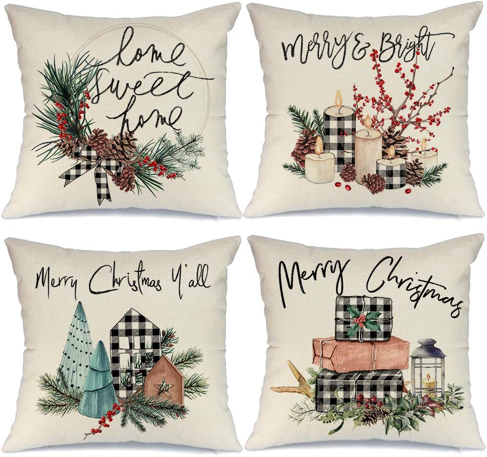 AENEY Christmas Pillow Covers 18x18 Set of 4, Buffalo Plaid Tree Wreath Rustic Winter Holiday Throw Pillows Farmhouse Christmas Decor for Home, Xmas Decorations Cushion Cases for Couch A301-18