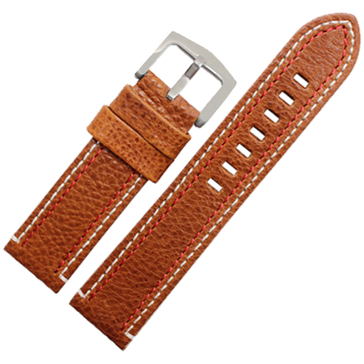 23 mm Brown GenuineレザーWatch Strap Band Withホワイトレッドダブルステッチ  B076V9RP3H