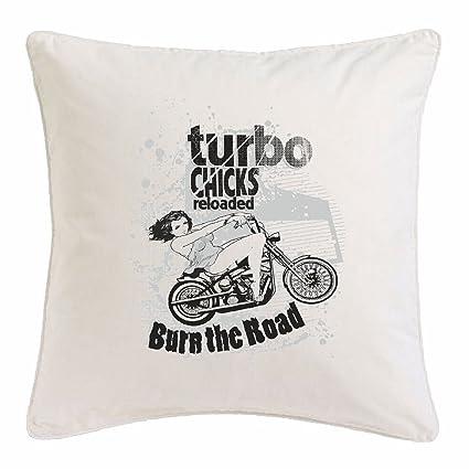 "funda de almohada 40x40cm ""POLLUELOS TURBO BURN THE ROAD Motociclista CAMISA motocicleta del interruptor"