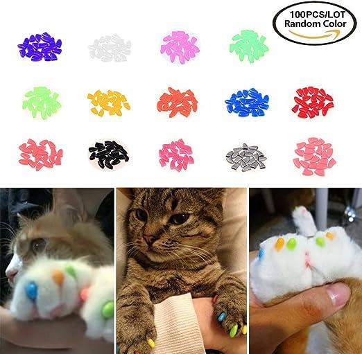 Tapas de uñas para mascotas blandas, con tapas de garra, con colores al azar, 100 unidades: Amazon.es: Productos para mascotas