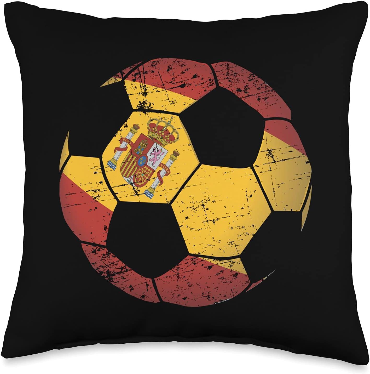 National Team Flag Soccer Ball Boys Designs Spain Soccer Ball Flag Jersey-Spanish Football Gift Throw Pillow, 16x16, Multicolor