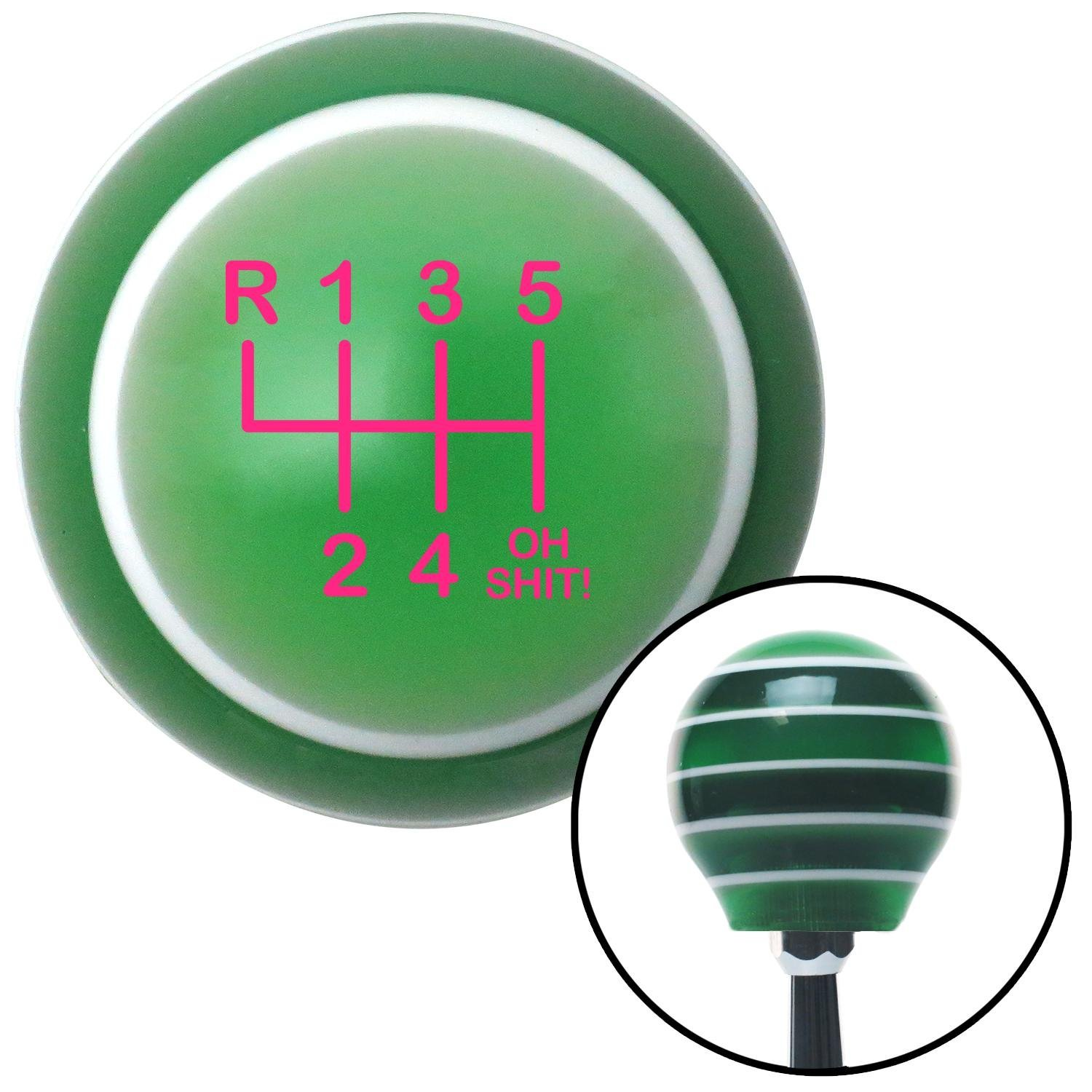 American Shifter 127550 Green Stripe Shift Knob with M16 x 1.5 Insert Pink Shift Pattern OS20n