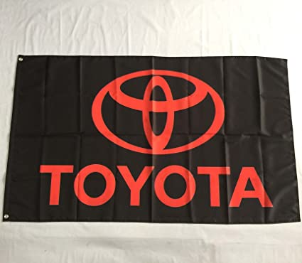 MCCOCO Toyota Motor Sports Flags Banner 3X5FT-90X150CM 100%  Polyester,Canvas Head with Metal Grommet,Used both Indoors and Outdoors   (design2)