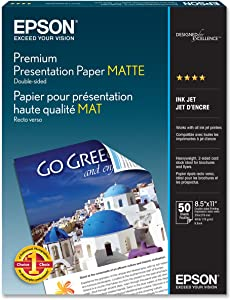 Epson Premium Presentation Paper MATTE (8.5x11 Inches, Double-sided, 50 Sheets) (S041568),Bright White