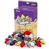 Chiwava 36 Pezzi 10,5cm Giochi Gatto Topolini Giocattoli per Gatti sonaglio Peloso Piccolo Topi Giochi interattivi per Gatto Gattini Colori Assortiti