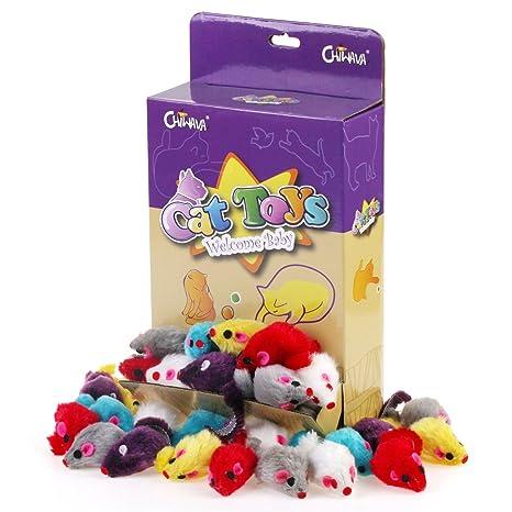 Chiwava 36 Piezas 10,5 cm Juguetes para Gatos Peludo Ratones sonajero pequeño Ratón Gato