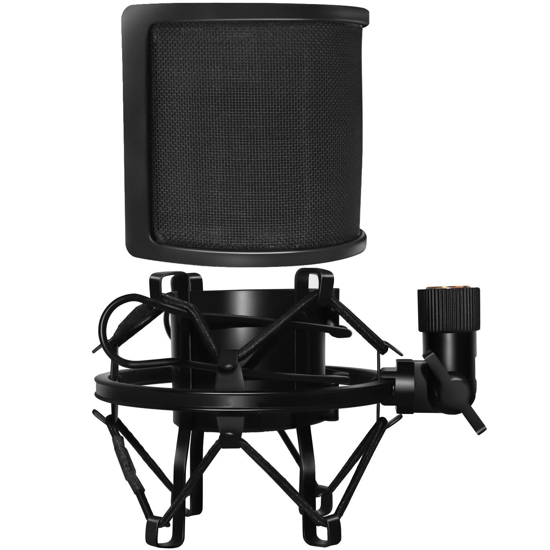 Filtro pop micrófono & Soporte micrófono Antivibraciones,PEMOTech Antivibración micrófono metal clip y metal aislamiento acústico capa filtro pop Máscara Equipado con adaptador de tornillo de metal para emisión de radio, doblaje y grabación 4330232198