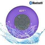 GJTWireless Bluetooth Waterproof Shower Speaker: 3.0 Speaker, Mini Water Resistant Wireless Shower Speaker, Handsfree Portable Speakerphone with Built-in Mic, 6hrs of playtime, Control Buttons and Dedicated Suction Cup for Showers, Bathroom, Pool, Boat, Car, Beach, & Outdoor Use(Purple)