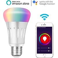 Ampoule WiFi Alexa Lampe Intelligente E27, 7W Lumière RGB Dimmable, Contrôle de la Voix avec Alexa et Google Home, Lampe Wifi avec App Télécommande Minuterie Changement de Couleur, 6000k + 600LM