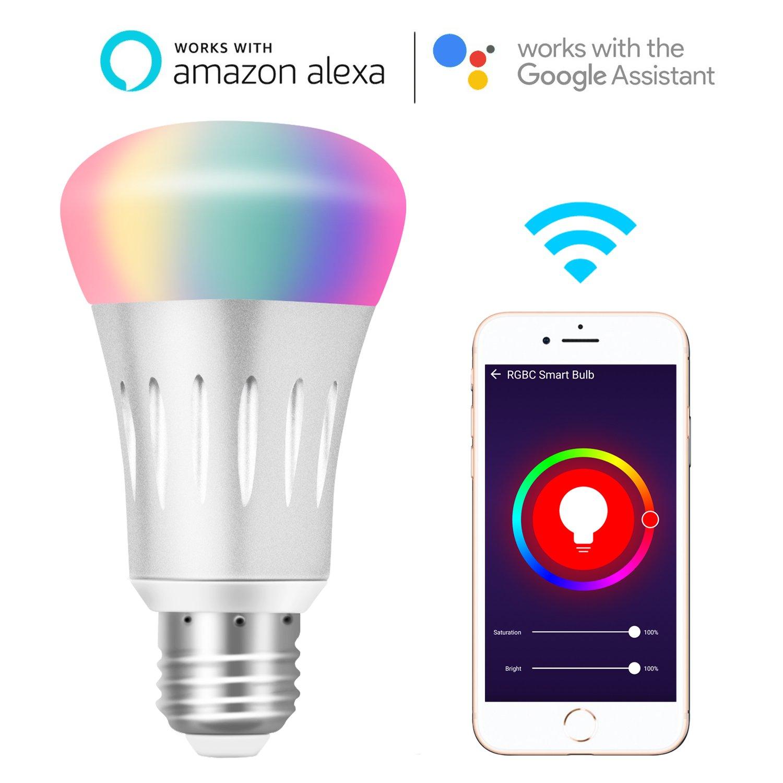 Ampoule WiFi Alexa Lampe Intelligente E27, 7W Lumière RGB Dimmable,  Contrôle de la Voix 101297a19bc