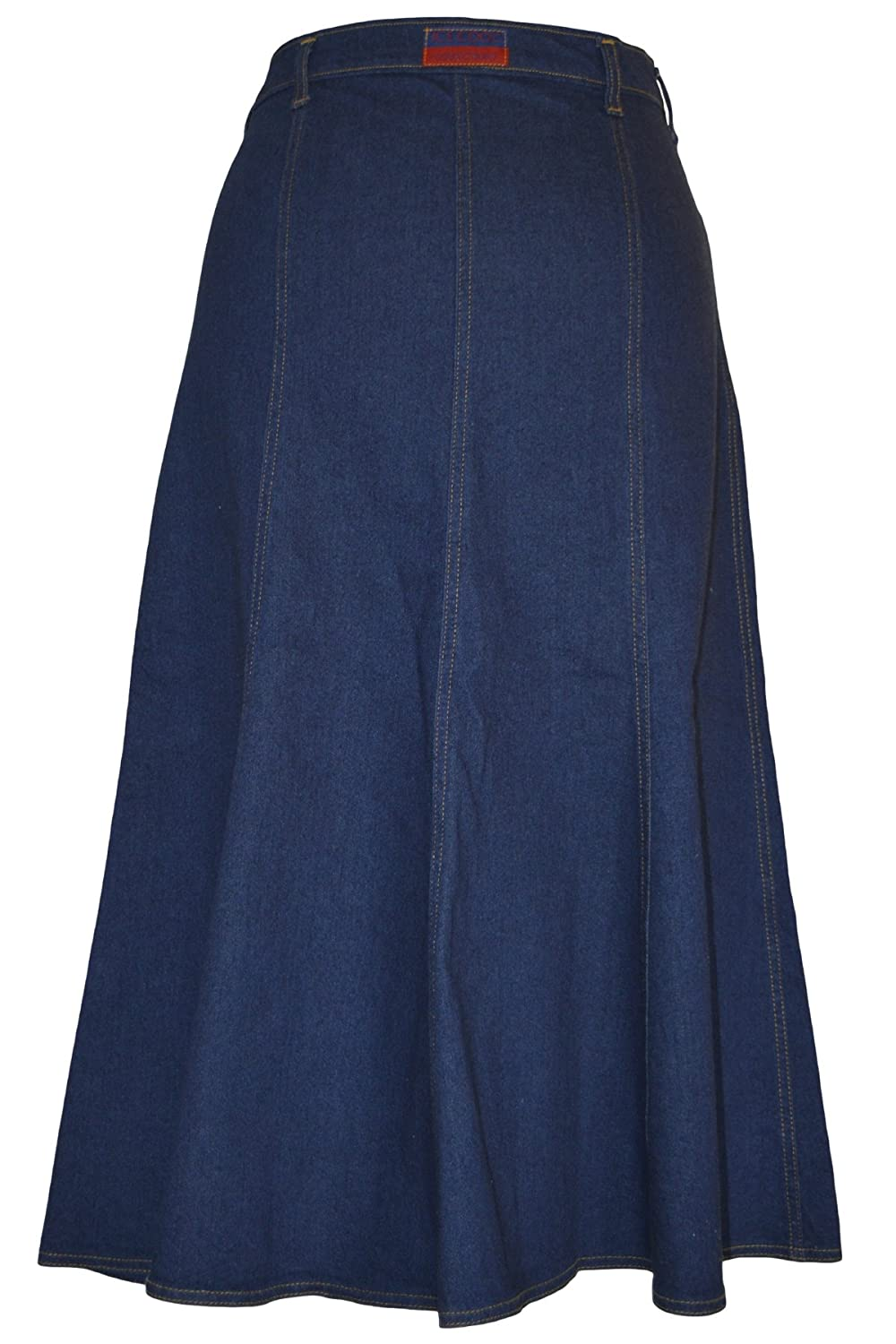 Ice Cool Ladies Long Flared Indigo Stretch Denim Skirt Sizes 10 to 22 in 30 /& 35 Lengths