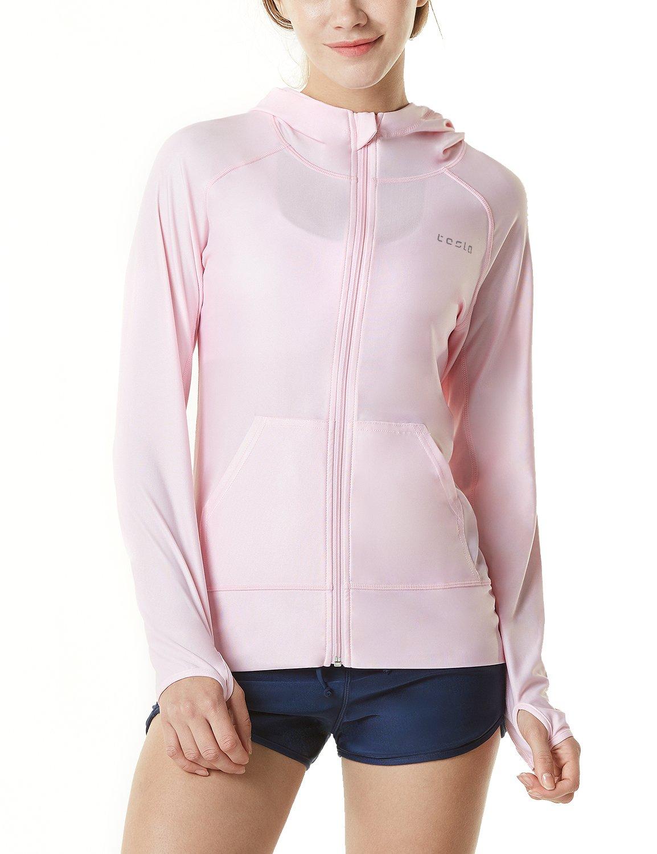 TSLA Women's UPF 50+ Full & Half Zip Front Long Sleeve Top Rashguard Swimsuit, Sun Block Zip Hoodie(fsz02) - Pink, X-Large by TSLA
