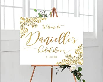 photo relating to Printable Welcome Sign referred to as : Dozili Bridal Shower Welcome Indication Printable Gold