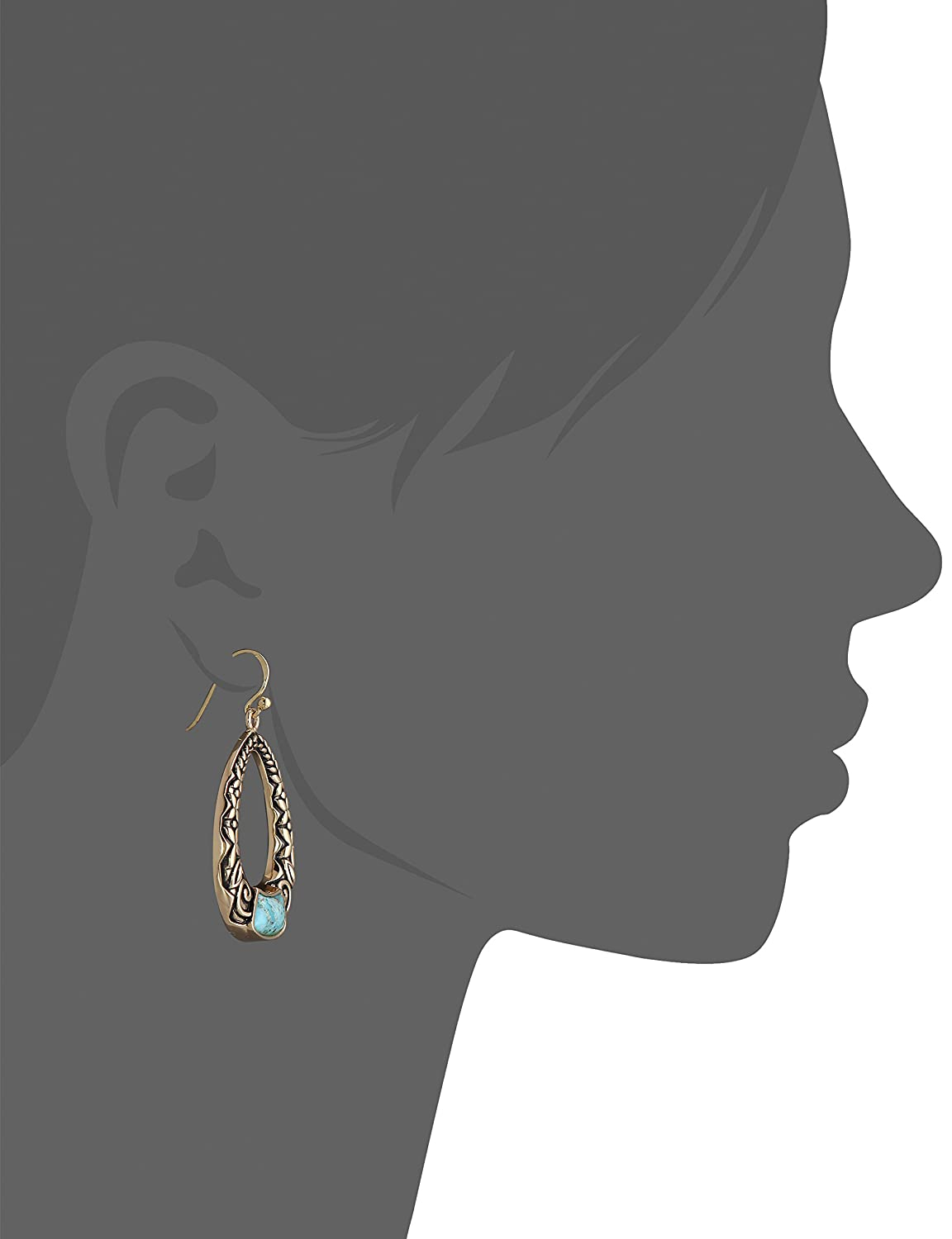 Barse Basics Turquoise Scroll-Front Earrings