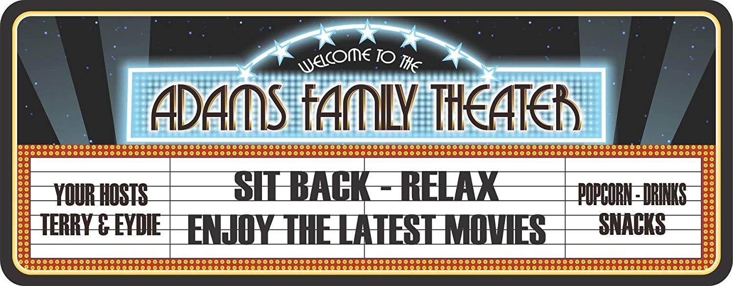 Personalized Retro Look Cinema Marquee Sign for Home Theater