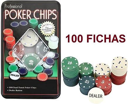 TEXAS HOLD*EM Juego de Poker 100 fichas numeradas con Caja + Ficha ...