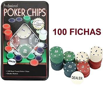 TEXAS HOLD*EM Juego de Poker 100 fichas numeradas con Caja + Ficha Dealer: Amazon.es: Juguetes y juegos