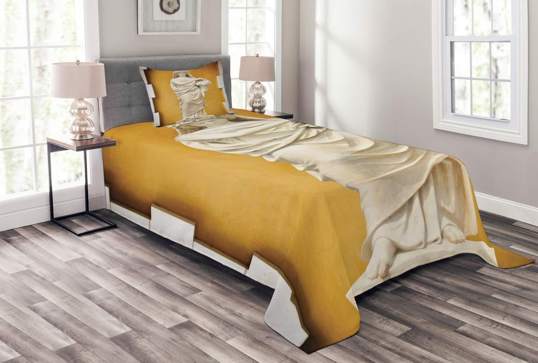 Lunarable Sculptures ベッドスプレッド ギリシャとローマの女性の像 フラワーブーケ ローマの民族 装飾キルトカバーセット 枕カバー付き アースイエロークリーム ツイン bed_9951_twin B07HB4BL5S マルチ1 ツイン