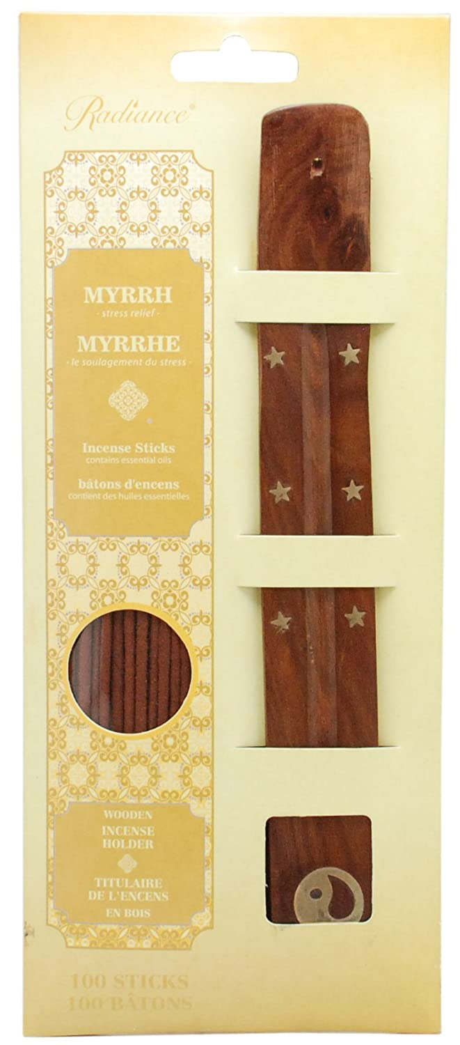100 Pack Kiera Grace 10-Inch Incense with Wooden Holder Set Myrrh AZ Home and Gifts CO18993-6