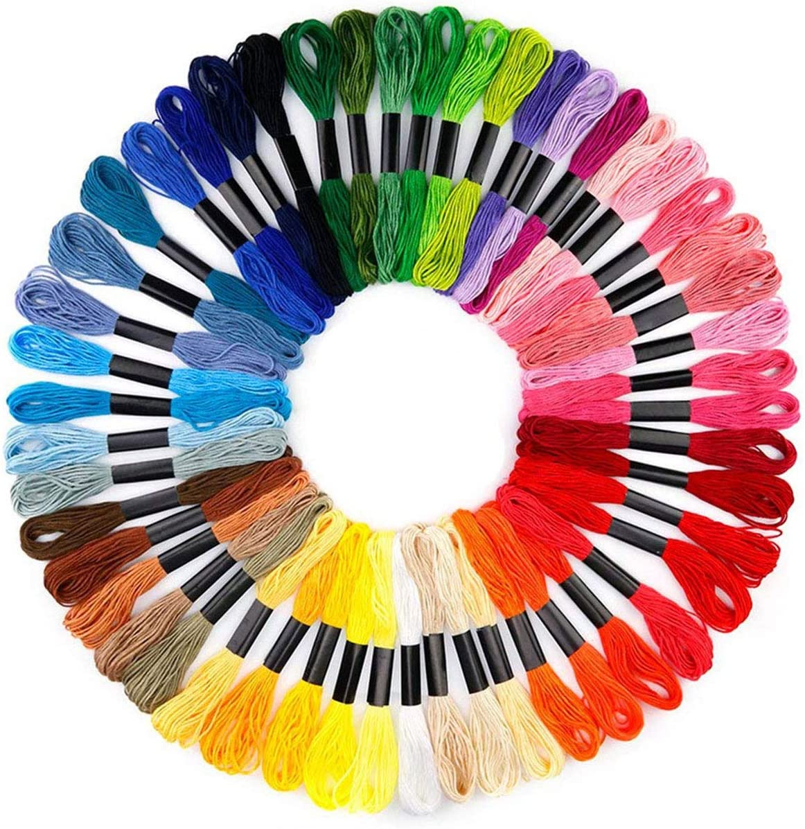 Embroidery Threads, Sewing Thread Kit Rainbow Embroidery ANG Crossstitch Floss for Crafts Floss Decoration, 50pcs
