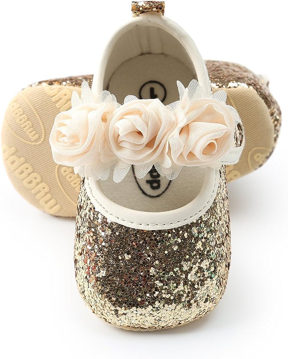 2pcs//Set Newborn Baby Girl Princess Mary Jane Shoes Toddler Infant Wedding Dress Flat Shoes with Free Headband