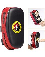 Overmont Pao de Boxeo de Cuero PU de Diseño de Acro Almohadilla de Choque Cojín Kick para Boxeo Taekwondo Karate Judo Jiu-Jitsu Brasileño UFC MMA Artes Marciales