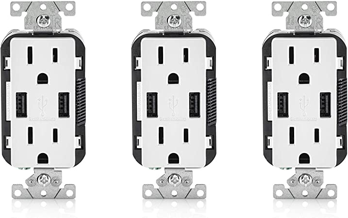 Leviton 15 Amp Decora Combination Duplex Receptacle and USB Charger White