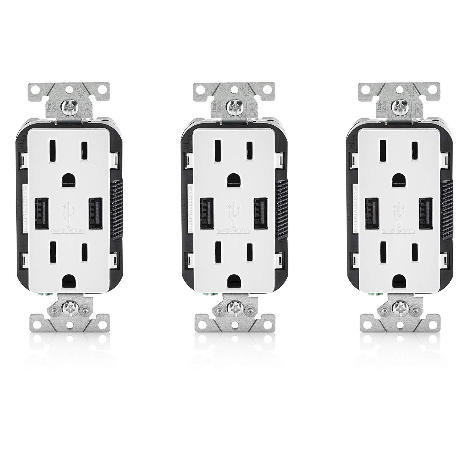 Leviton T5632-3BW 15-Amp USB Charger/Tamper Resistant Duplex Receptacle Pack of 3, White