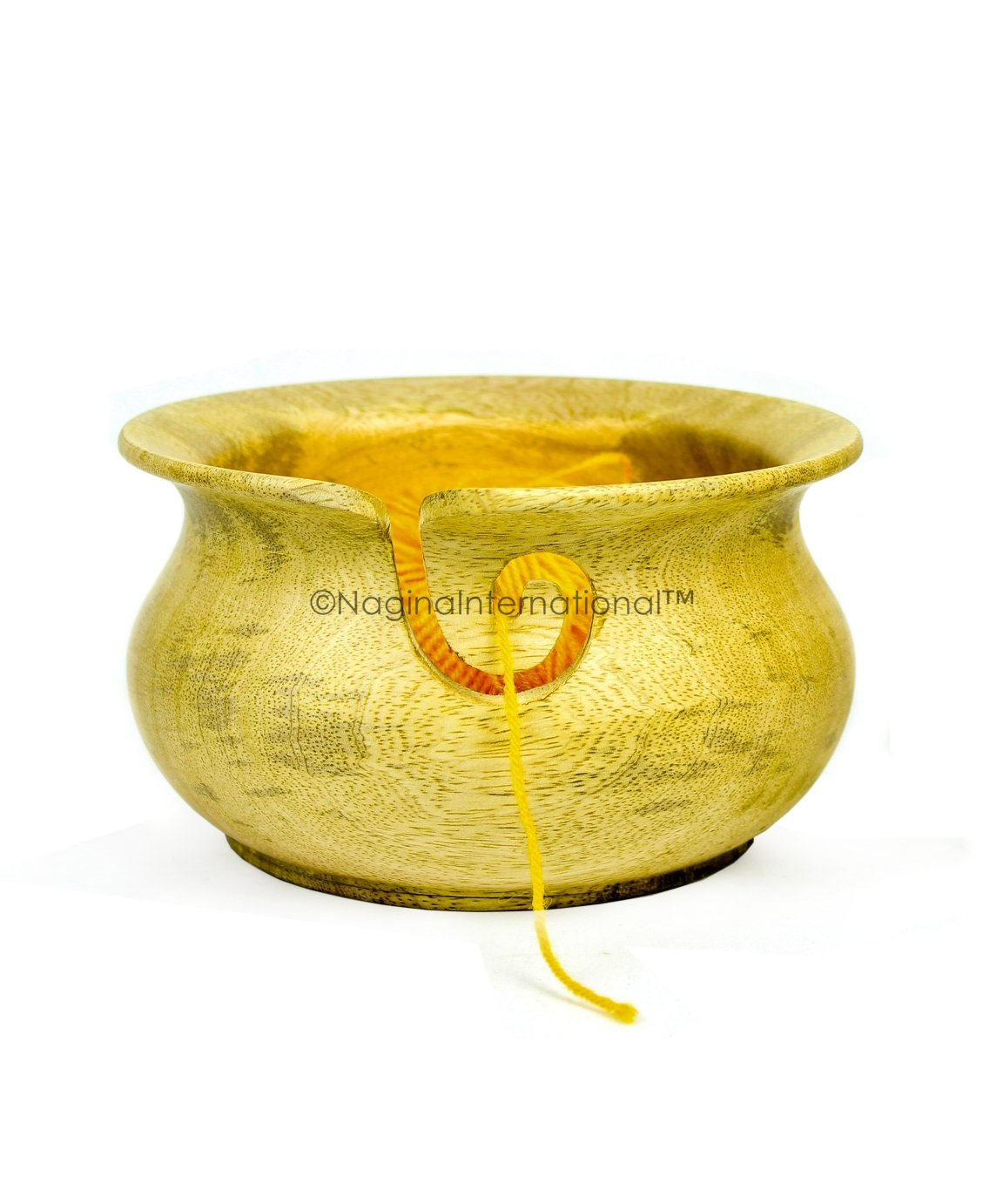 Large Mango Wood Crafted Premium Yarn Storage Bowl with Innovative Dispenser Curl | Pot Styled Bowl for Yarn Storage & Holder | Nagina International