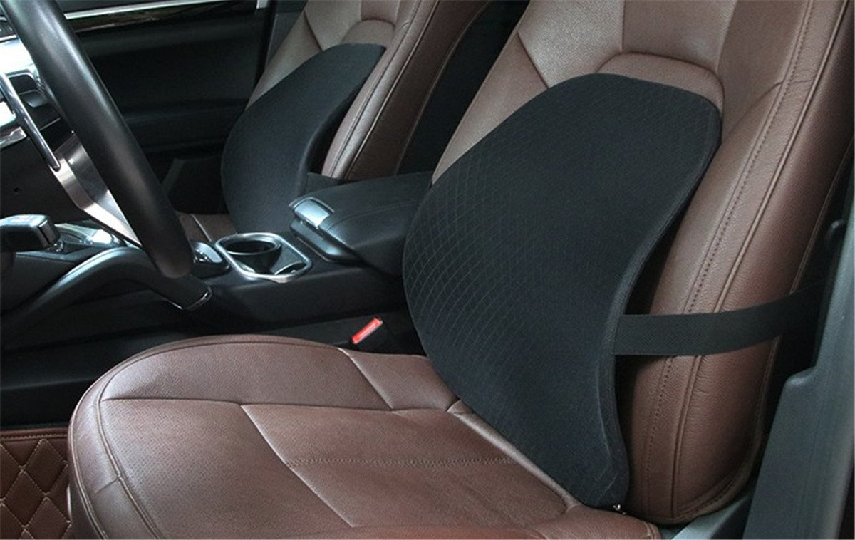 Fochutech Car Lumbar Pillow Seat Back Waist Support Rest Pad Cushion Auto Relax Travel Home Office Chair (Black)