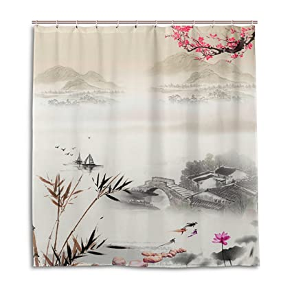 Sunlit Waterproof Fabric Various Pattern Bathroom Shower Curtain 72Inch