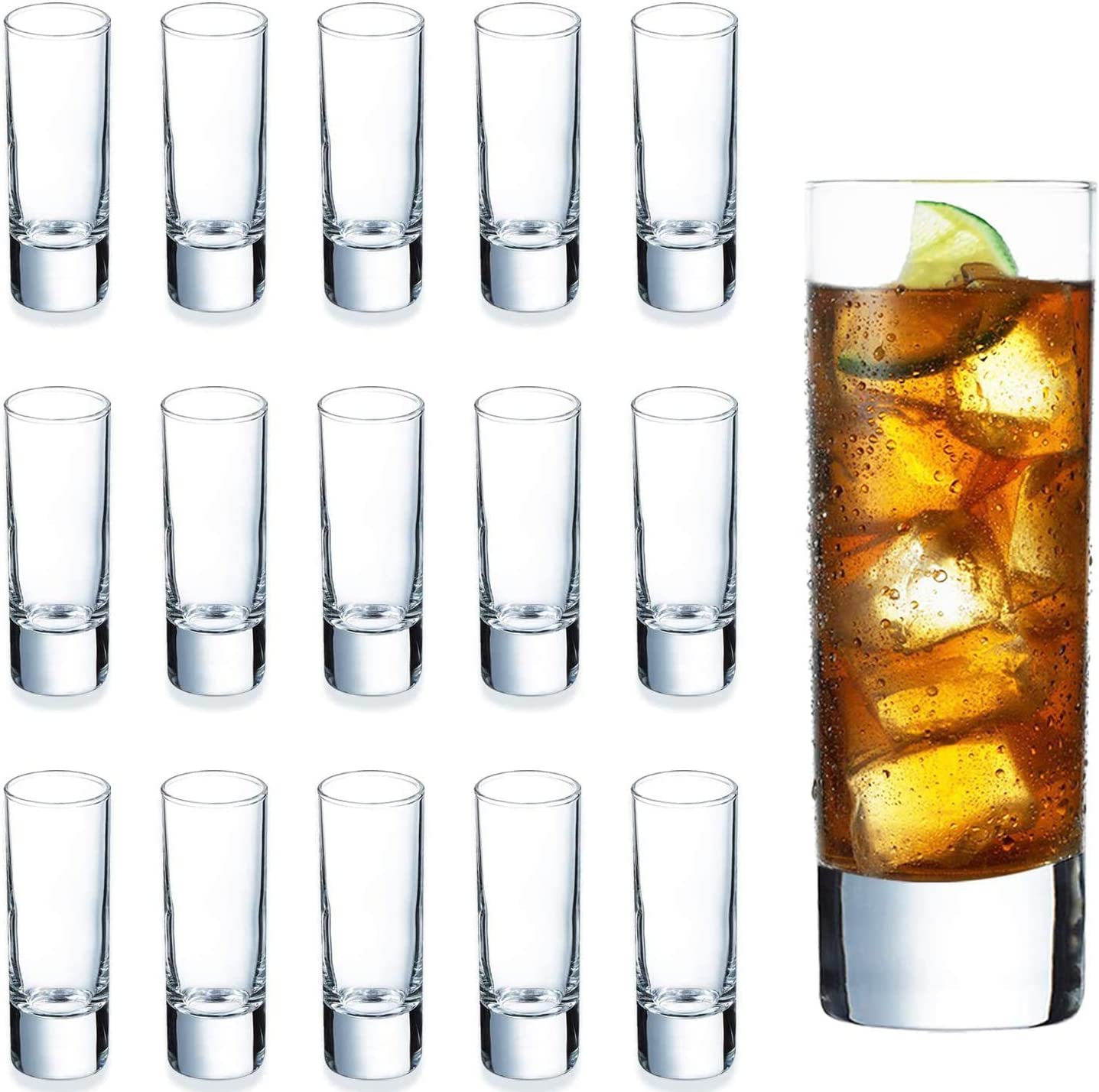 Heavy Base Shot Glass Set Bulk, DeeCoo Whisky Shot Glasses 2 oz, Mini Glass Cups For liqueur, Double Side Cordial Glasses, Tequila Cups Small Glass Shot Cups Set Of 24
