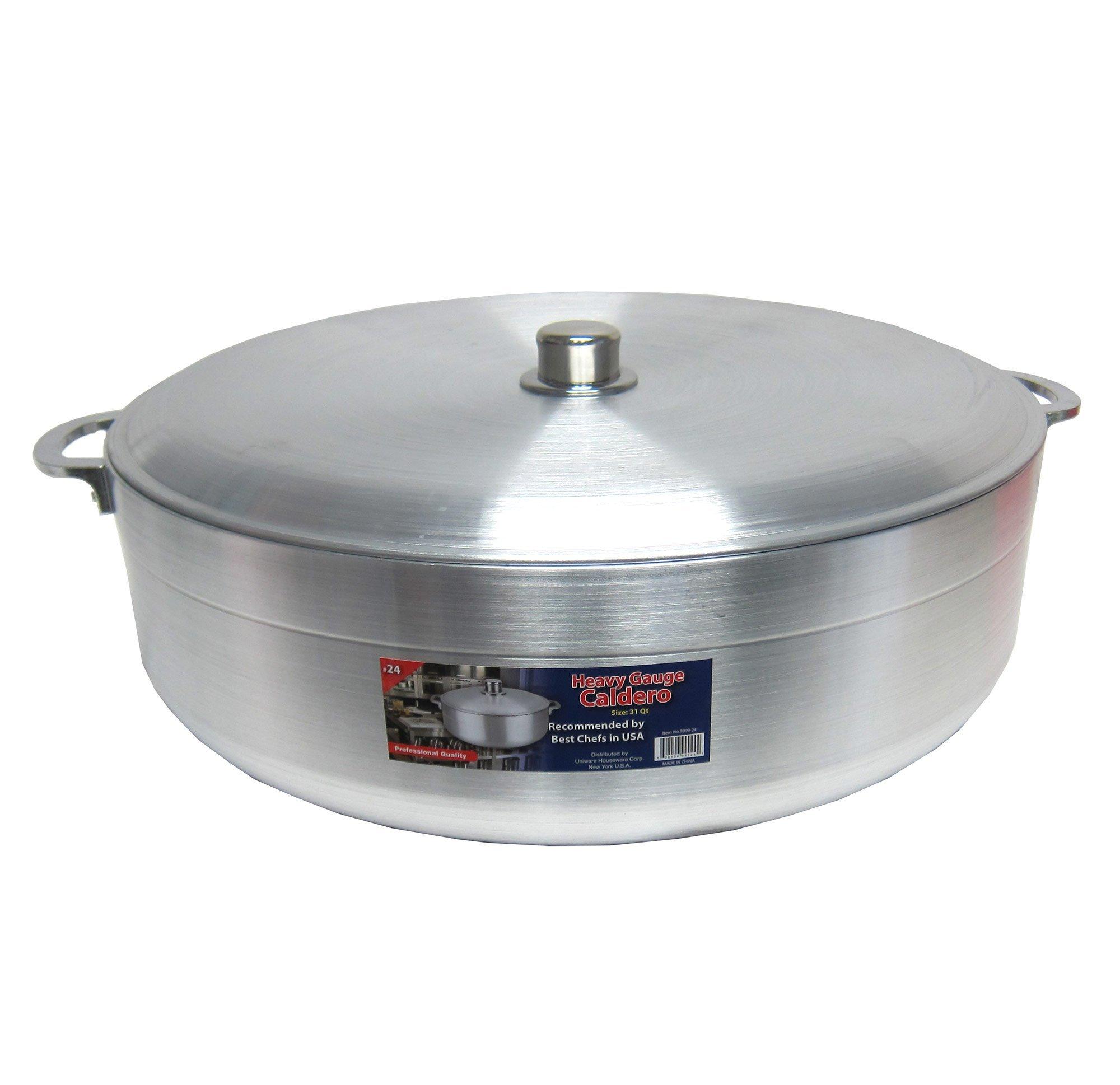 Uniware Heave Duty Aluminum Calderon/Pot with Aluminum Lid Cover, Silver (29.6 Qt)