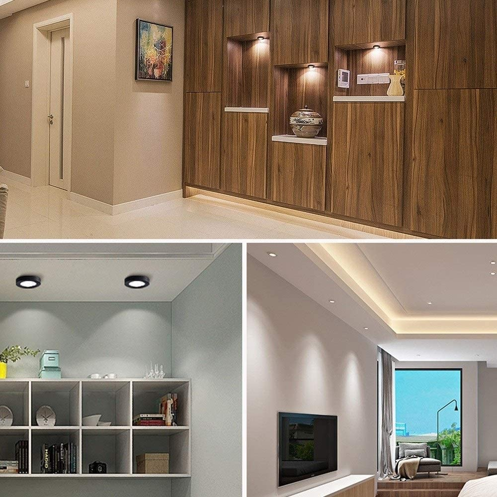 Color : Negro energ/ética A ++ Sunny Lingt Ultrafino peque/ña superficie Proyector de montaje en techo del LED luz de techo Downlight simple MINIFOCOS 3000K COB luz caliente Color: Oro-7W