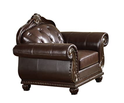 Ordinaire ACME 15032 Top Grain Leather Chair, Dark Brown Leather