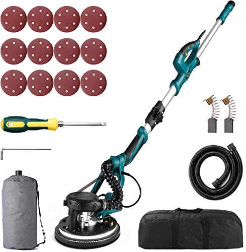 Drywall Sander URCERI 800W Electric Drywall 7.0A Sander Automatic Vacuum System 12 Sanding Discs, 800-1800 RPM Variable Speed, LED Light, and a Carry Bag