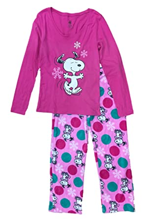 peanuts womens snoopy dog pajamas pink snowflake christmas holiday sleep set m - Snoopy Christmas Pajamas