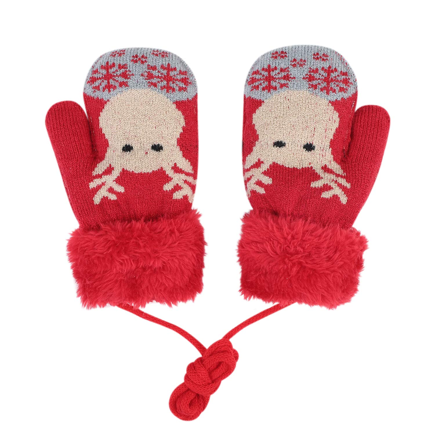 Kids Winter Gloves Girls Boys Knitted Mitten Cartoon Deer Thickened Animal Gloves Warm Fluffy Wrist Mittens With String Full Finger Gloves Children Christmas Gloves Aged 2-6