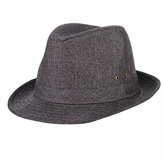 a08a7559 Image Unavailable. Image not available for. Color: Mens Fedoras Hats-Summer  Breathable Wide Brim Vintage Plaid Jazz Sun Cap