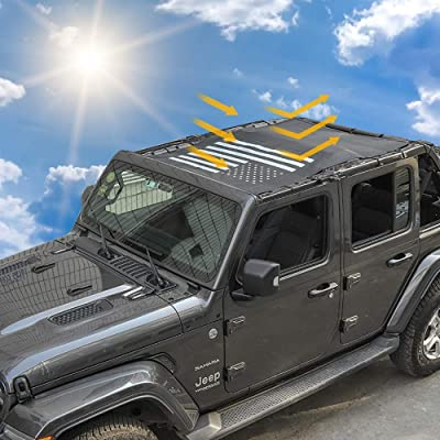 Sunshade Mesh Shade Top Cover Provides Roof UV Sun Protection for Jeep Wrangler JL Rubicon Sahara Sport Sport-S 4-Door: Automotive