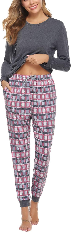 Aiboria Mujer Invierno Pijamas Mujer Algod/ón Manga Larga Pijamas Camiseta y Pantalones Ropa de Dormir 2 Piezas con Cord/ón y Bolsillos